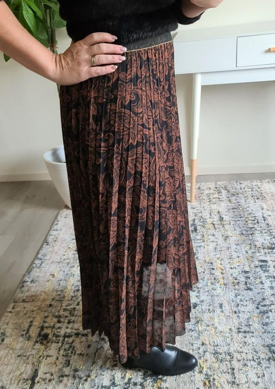 Just Woman   Brown  (Skirt - Brown print  - 1711  (10)) - Queens Fashion
