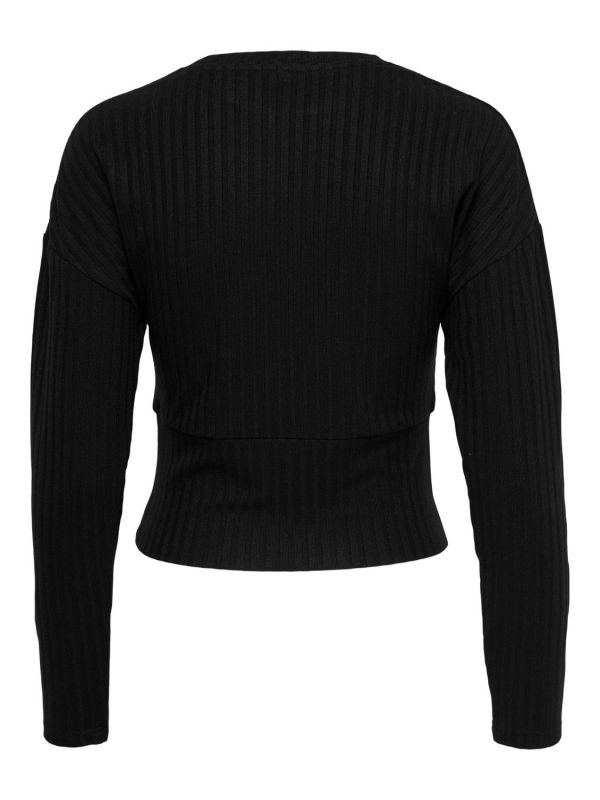 Only  Black  (ONLDINA L/S O-NECK TOP - Black - 15227018 (2)) - Queens Fashion