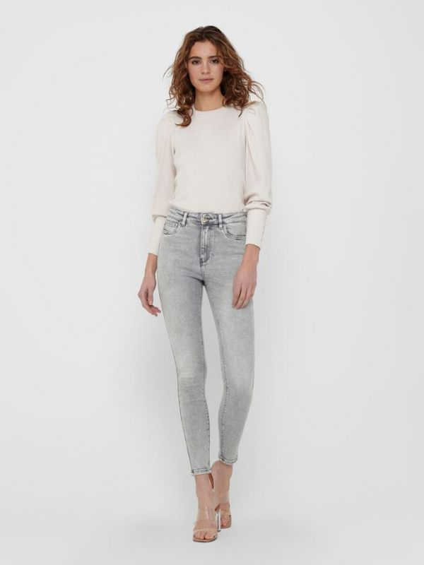 Only  Light Grey  (ONLMILA HW ANKLE JEANS - Light Grey  - 15226109  L32  - NOOS) - Queens Fashion