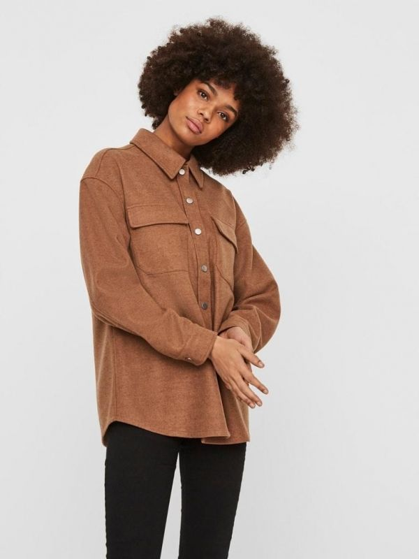 Vero Moda  Brown  (VMOCEAN LS SHIRT - Tobacco - 10235371 (9) *) - Queens Fashion
